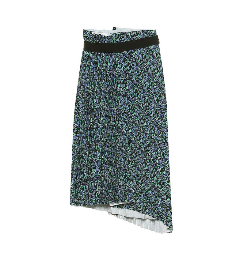 Balenciaga Pleated asymmetric midi skirt in blue