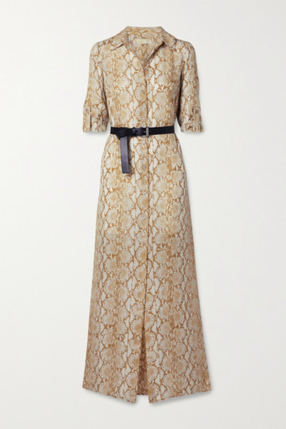 MICHAEL Michael Kors - Belted Snake-print Silk-crepe Maxi Shirt Dress - Beige