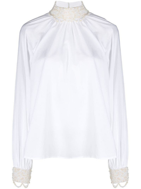 Wandering pearl-embellished cotton blouse in white