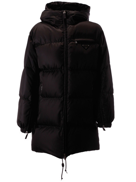 Prada Hooded Padded Jacket in nero