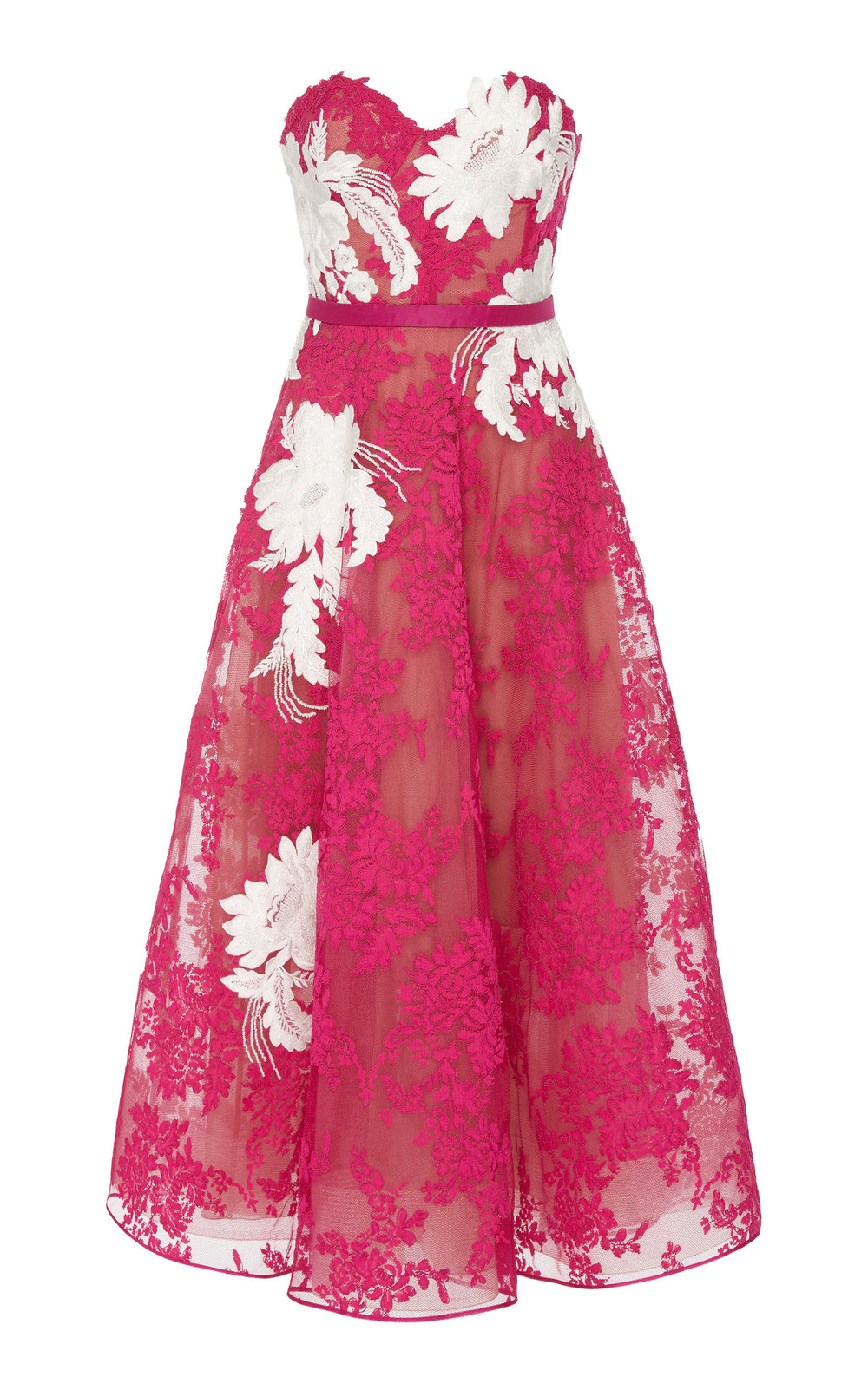 Marchesa Strapless Corded Lace Midi Dress in pink