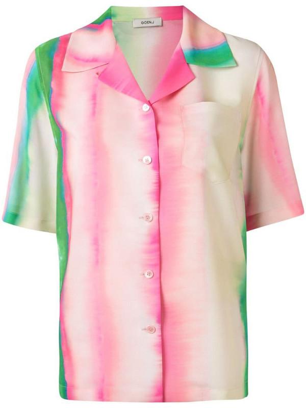 Goen.J watercolour stripe print shirt