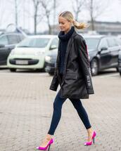 shoes,pumps,pink,ysl,leggings,leather jacket,oversized jacket,turtleneck sweater,cable knit,navy