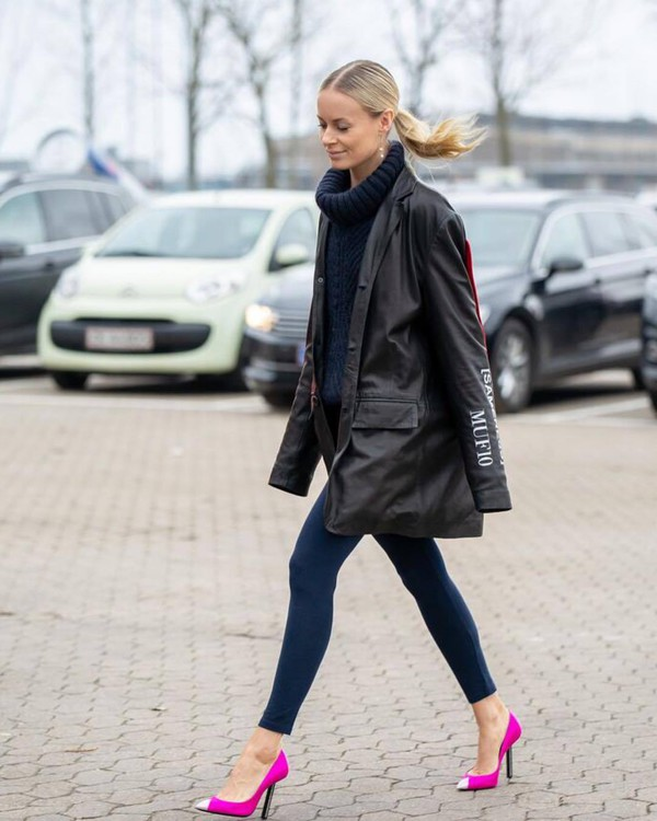 shoes pumps pink ysl leggings leather jacket oversized jacket turtleneck sweater cable knit navy