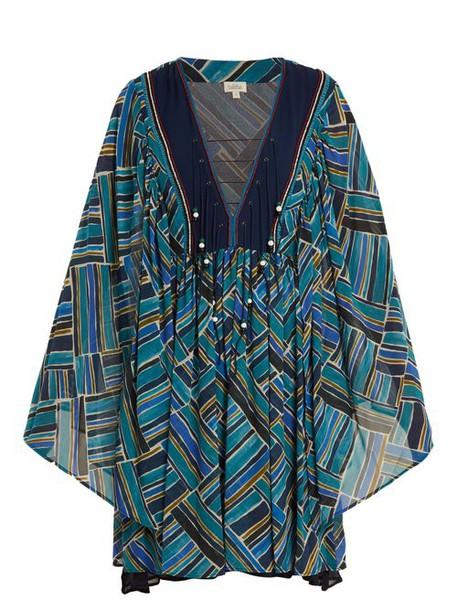 Talitha - Painted Jasmin Graphic Print Silk Chiffon Dress - Womens - Blue Multi
