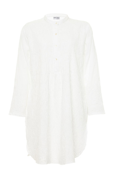 Juliet Dunn Embroidered Cotton Boyfriend Shirt in white