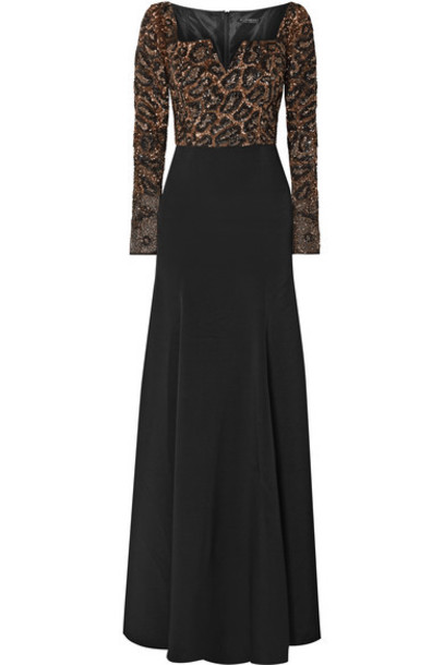 Burnett New York - Silk-jersey And Embellished Tulle Gown - Black