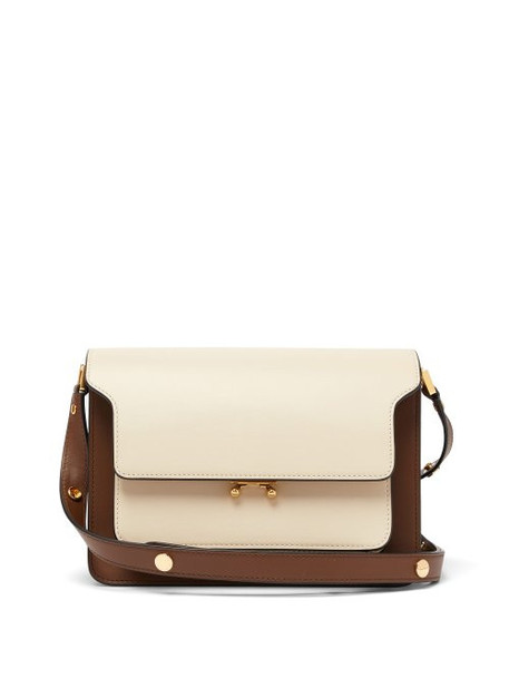 Marni - Trunk Medium Leather Shoulder Bag - Womens - White Multi