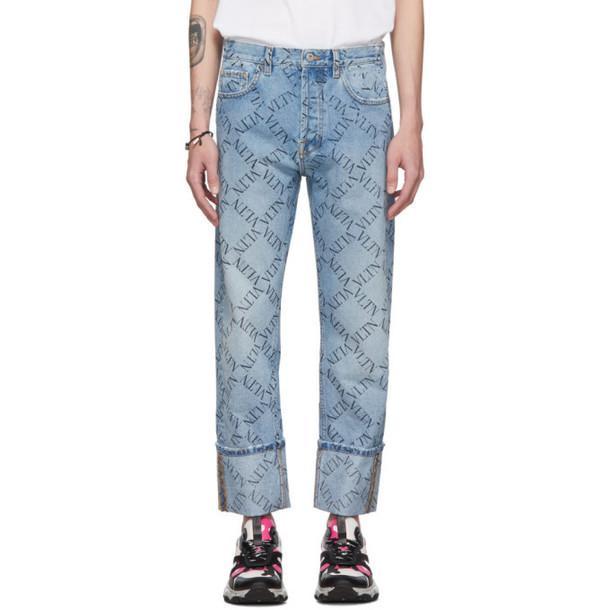 Valentino Blue 'VLTN' Print Jeans