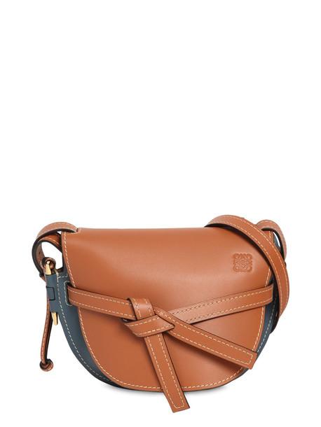 LOEWE Gate Small Color Block Leather Bag in blue / tan