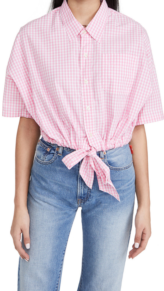 Denimist Front Tie Shirt in pink