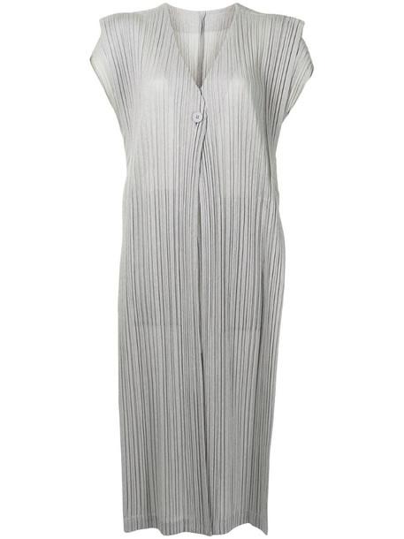 Pleats Please Issey Miyake pleated open-front vest in grey