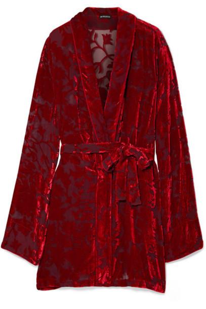Ann Demeulemeester - Peignoir Devoré-chiffon Wrap Dress - Red