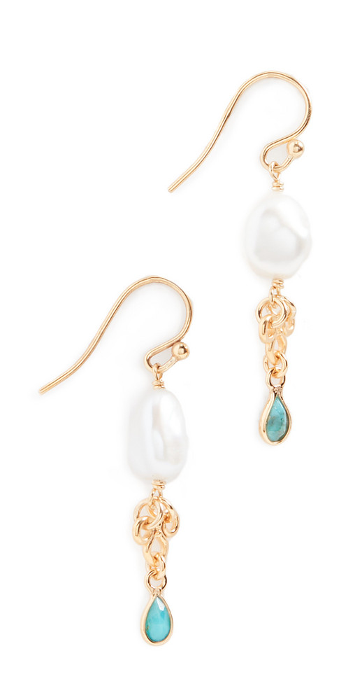 Chan Luu Pearl and Turquoise Earrings in white