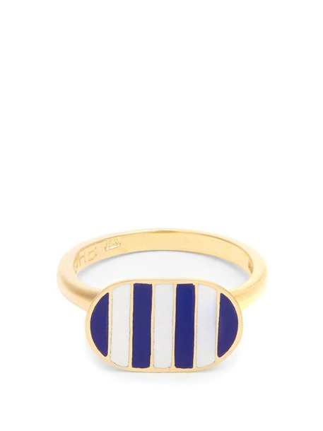 Jessica Biales - Enamel & Yellow Gold Ring - Womens - Blue