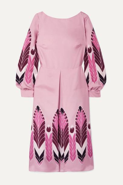 Valentino - Pleated Printed Silk-twill Midi Dress - Pink