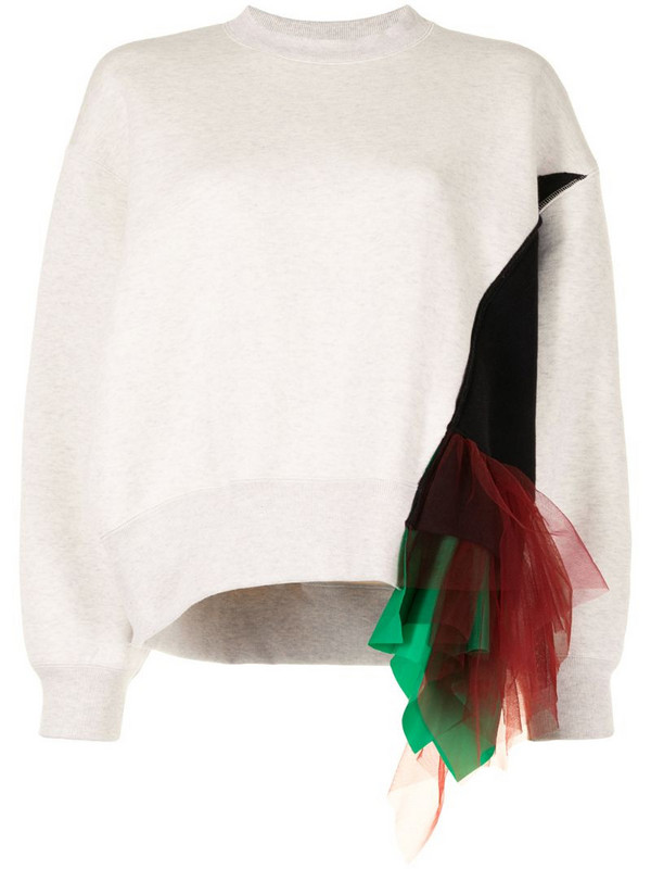 Kolor tulle-embellished panelled sweatshirt in white