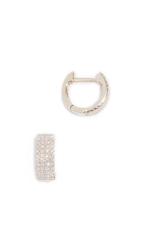 EF Collection 14k Diamond Jumbo Huggie Earrings in gold / yellow