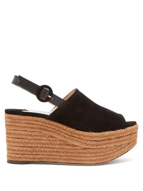 Jimmy Choo - Deya Suede Platform Sandals - Womens - Black