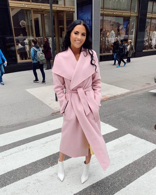 coat pink coat long coat wool coat ankle boots white boots yellow dress midi dress