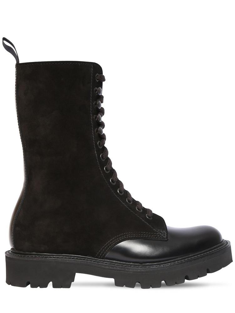 GRENSON 30mm Bev Brushed Leather & Suede Boots in black