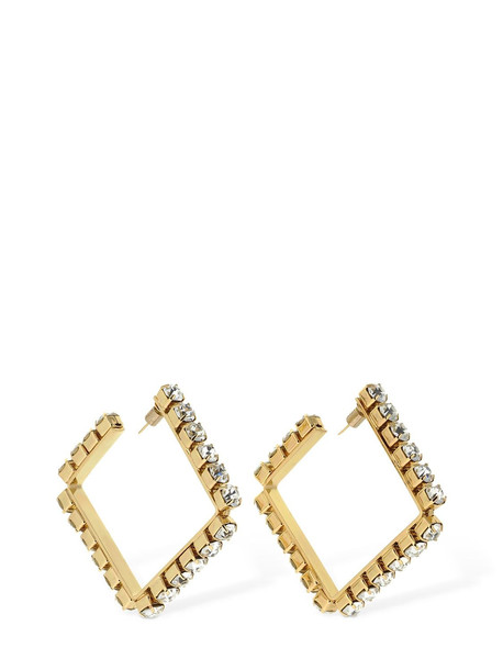 AREA Medium Classic Square Hoop Earrings in gold