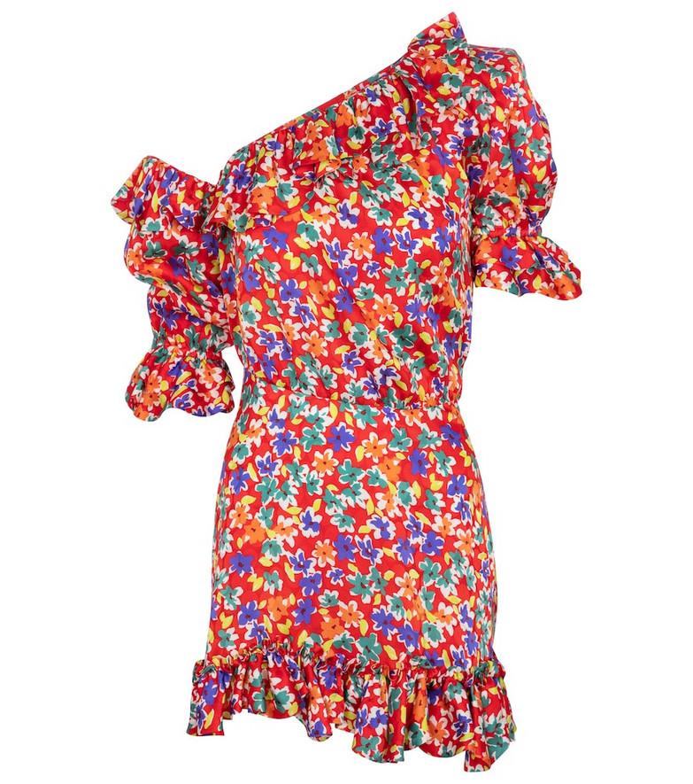 Saint Laurent One-shoulder floral silk minidress in red