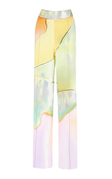 Peter Pilotto Printed Silk Straight-Leg Pants Size: 12 in multi
