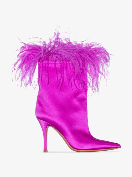 Amina Muaddi pink Nakia Plume feather trim satin boots