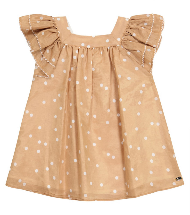 Tartine et Chocolat Baby cotton and silk dress in brown