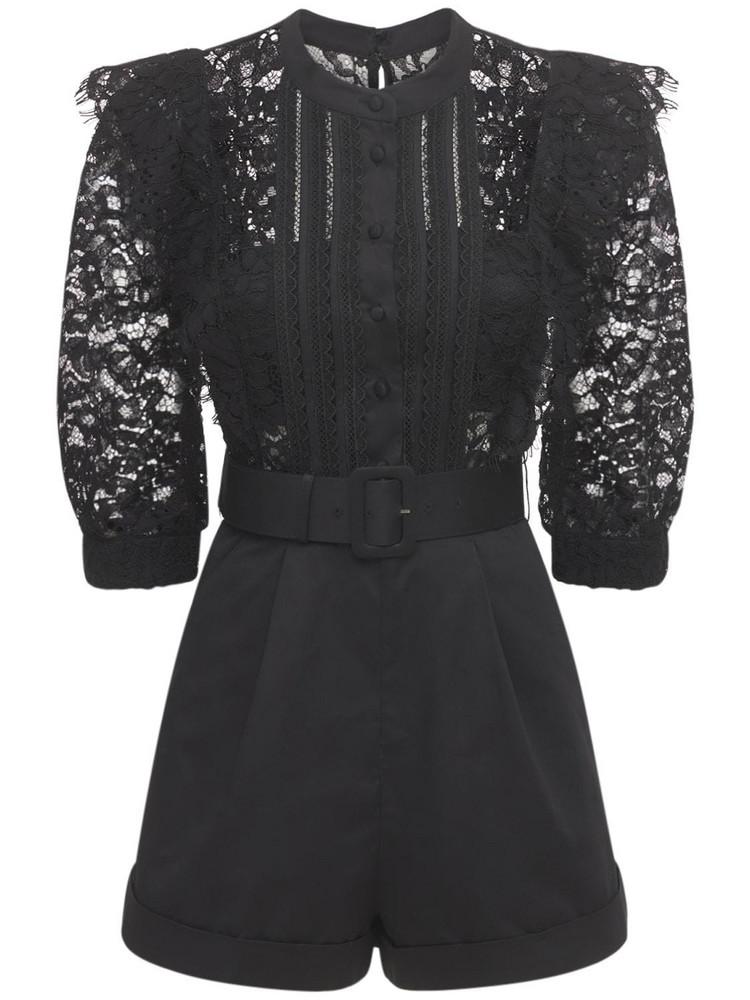 SELF-PORTRAIT Cord Lace Trimmed Romper in black