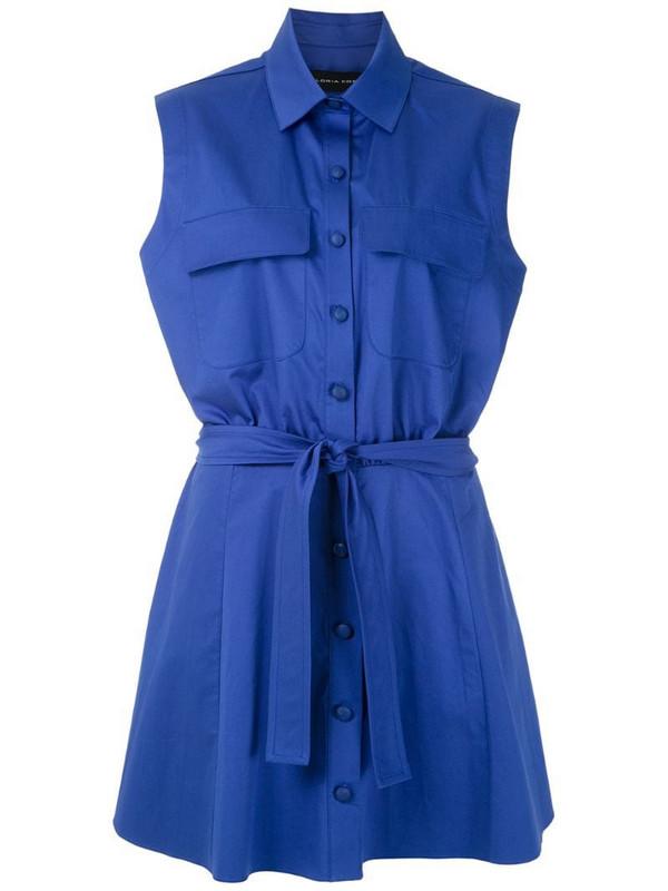 Gloria Coelho sleeveless shirt dress in blue