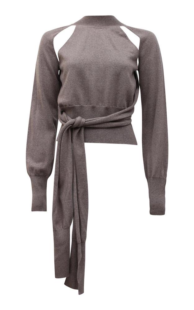 Rejina Pyo Morgan Cutout Tie-Front Wool Sweater in grey