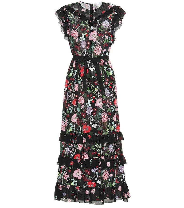 REDValentino Floral silk maxi dress in black