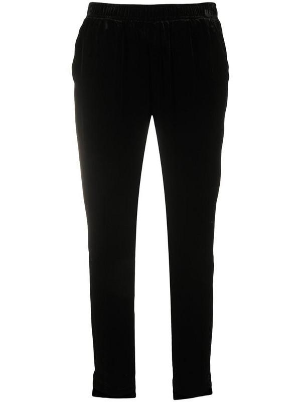 Gold Hawk slim-fit velvet trousers in black