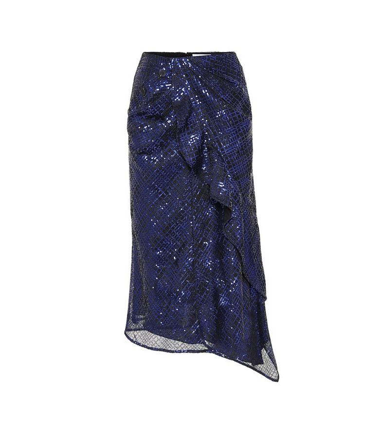 Self-Portrait Sequined midi skirt in blue