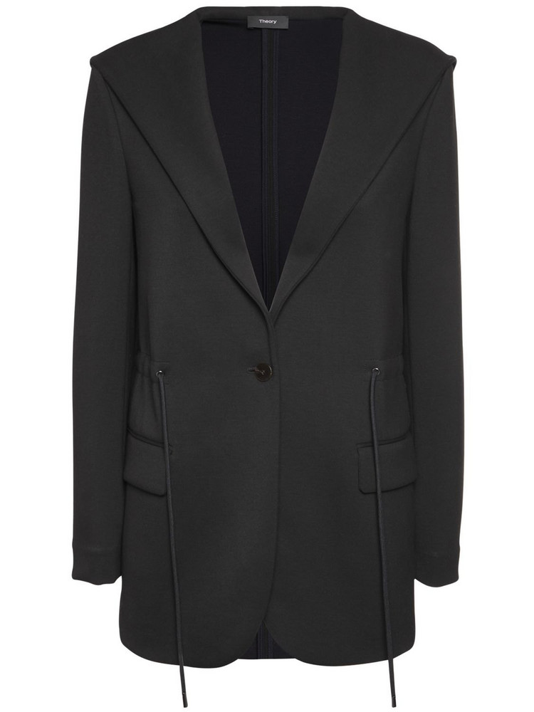 THEORY Hooded Viscose Blend Jacket in black / navy