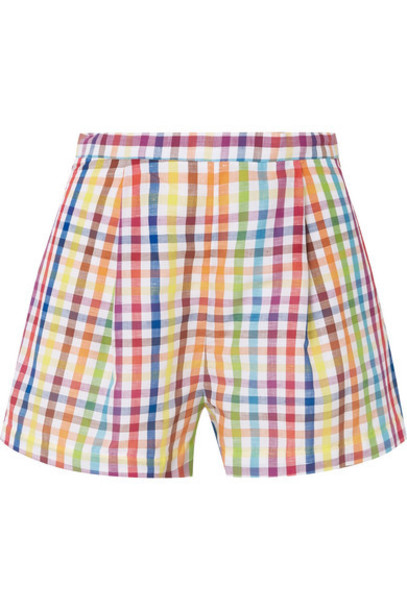 shorts pleated cotton yellow gingham