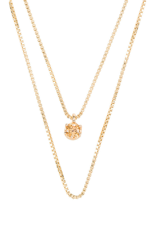 Natalie B Jewelry November Birthstone Necklace in gold / metallic