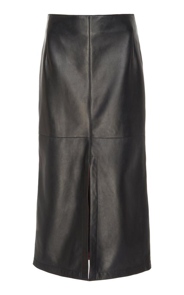 Victoria Beckham Box-Pleated Nappa Leather Midi Skirt Size: 6 in black