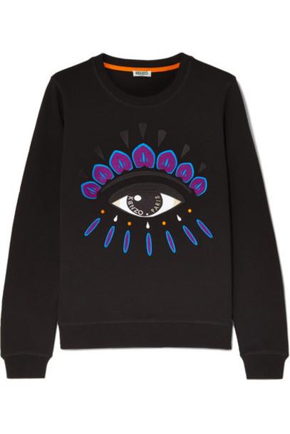 KENZO - Embroidered Cotton-jersey Sweatshirt - Black