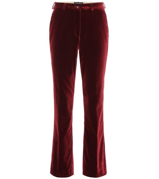 Etro Velvet mid-rise flared pants in red
