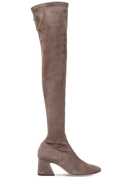ALBERTA FERRETTI 60mm Stretch Suede Over-the-knee Boots in taupe