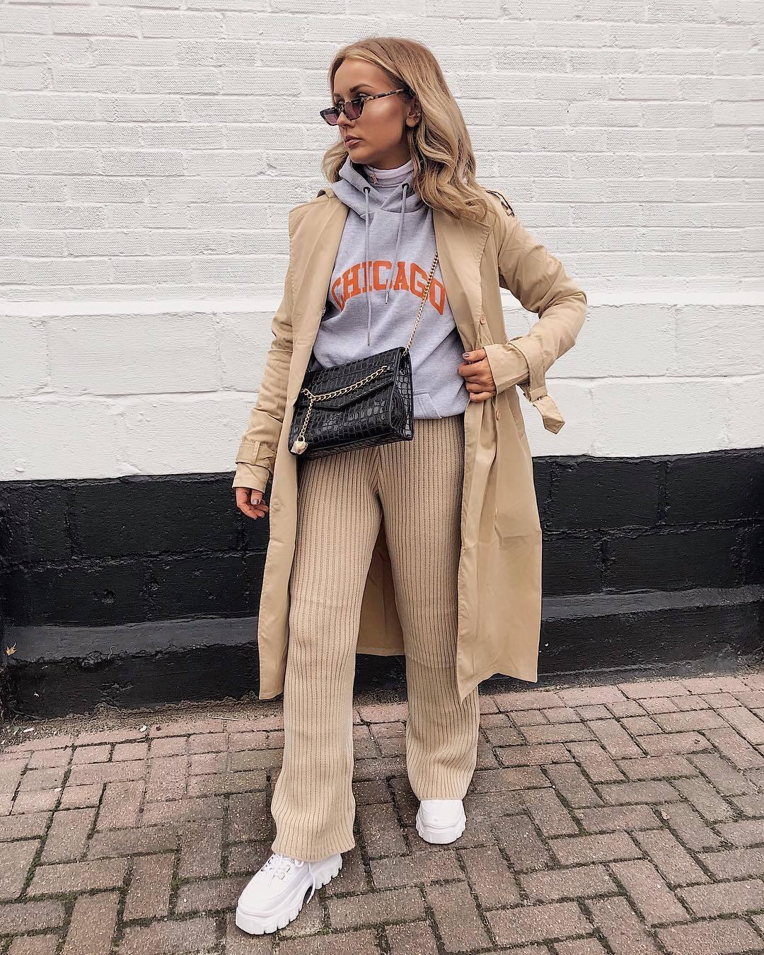 pants flare pants knit white shoes platform shoes beige coat trench coat grey hoodie black bag white turtleneck top