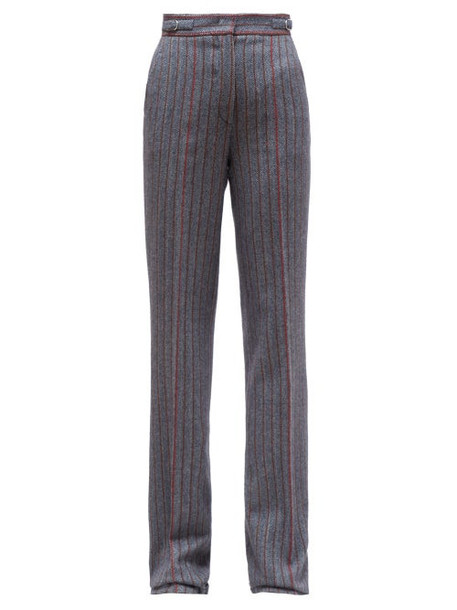 Gabriela Hearst - Shipton Tailored Wool Herringbone Trousers - Womens - Grey Multi