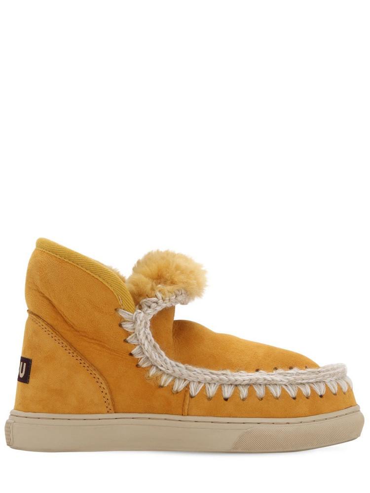 MOU 20mm Mini Eskimo Shearling Boots in orange