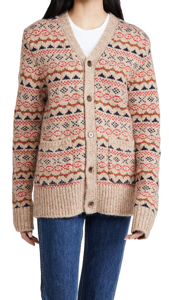 Alex Mill Fair Isle Cardigan in camel / multi