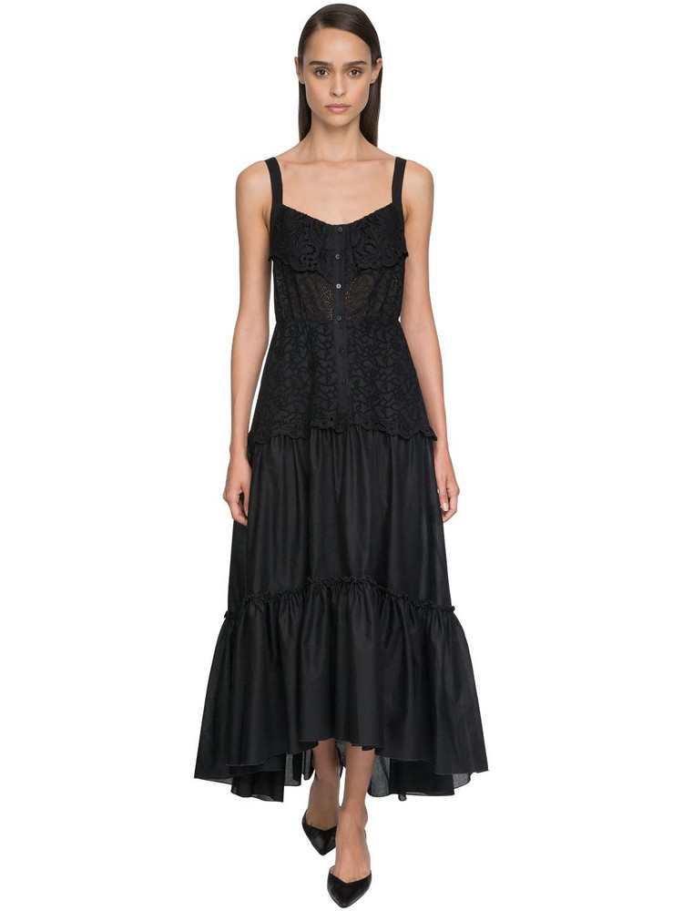 ERMANNO SCERVINO Ruffled Eyelet Lace Midi Dress in black