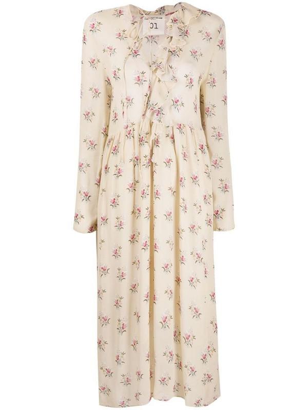 Semicouture bouquet-print midi dress in neutrals