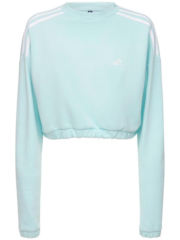 ADIDAS PERFORMANCE Cropped Crewneck Sweatshirt in blue